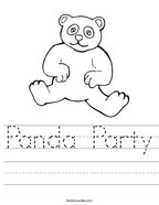 Panda Party Handwriting Sheet