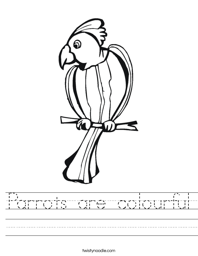 Parrots are colourful Worksheet