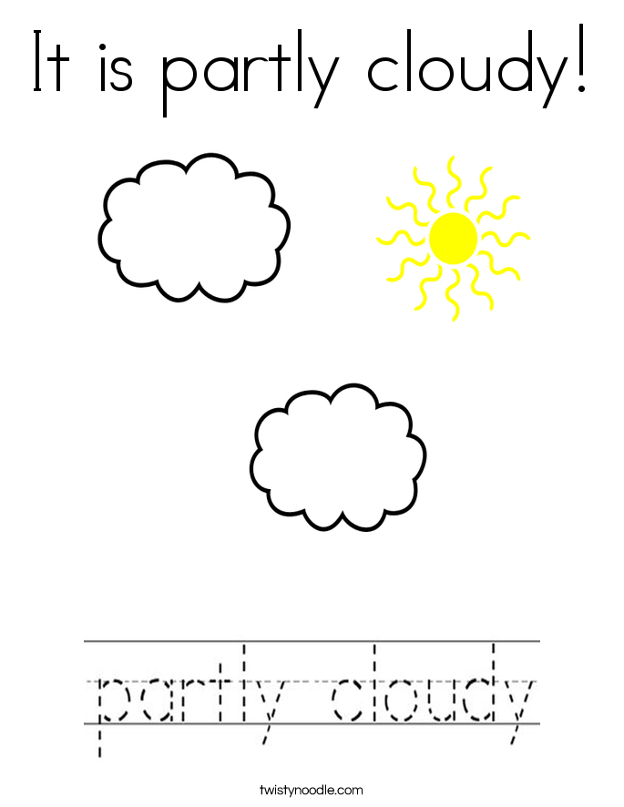 It is partly cloudy! Coloring Page