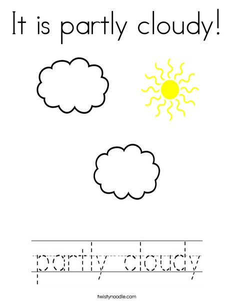 Partly Cloudy Coloring Page
