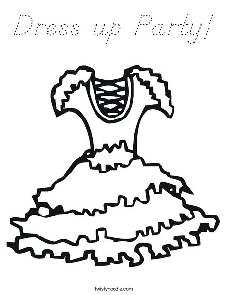Party Dress with ruffles Coloring Page