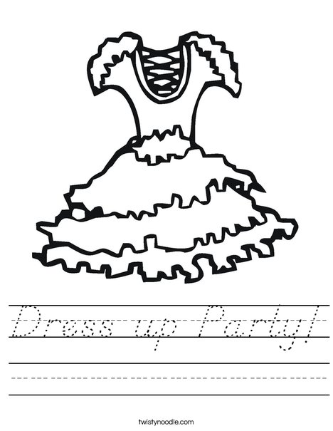 Party Dress with ruffles Worksheet