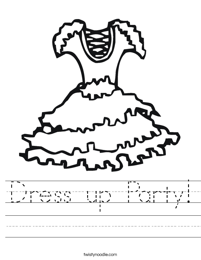 Dress Up Party Worksheet Twisty Noodle