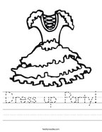 Dress up Party Handwriting Sheet