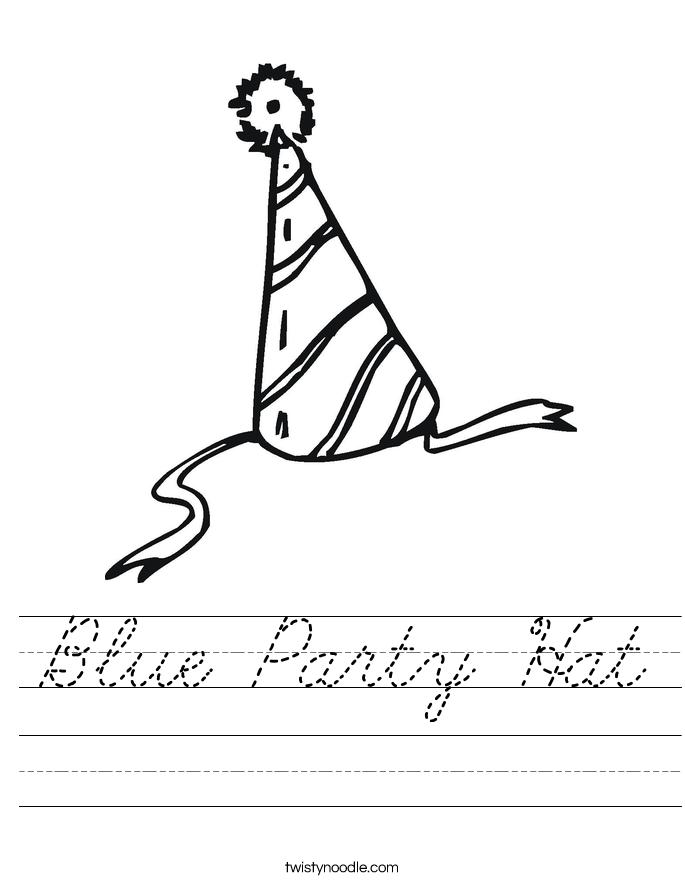 Blue Party Hat Worksheet