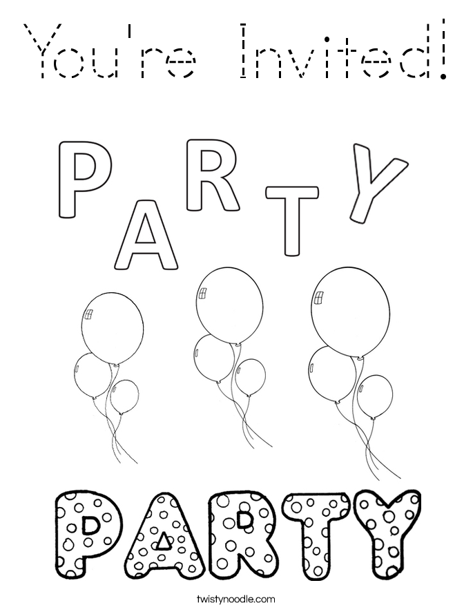 You're Invited! Coloring Page