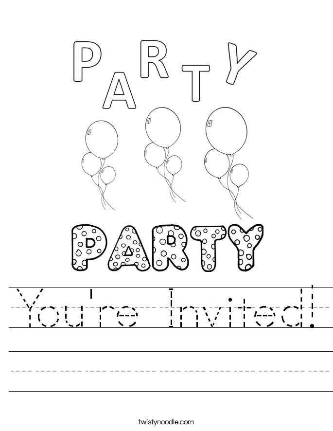 You're Invited! Worksheet