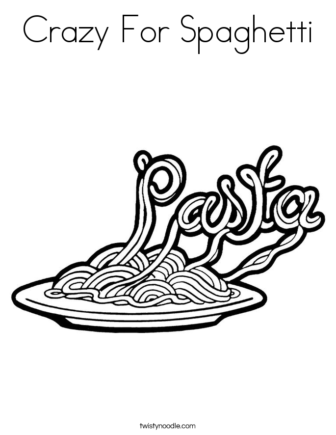 Crazy For Spaghetti Coloring Page