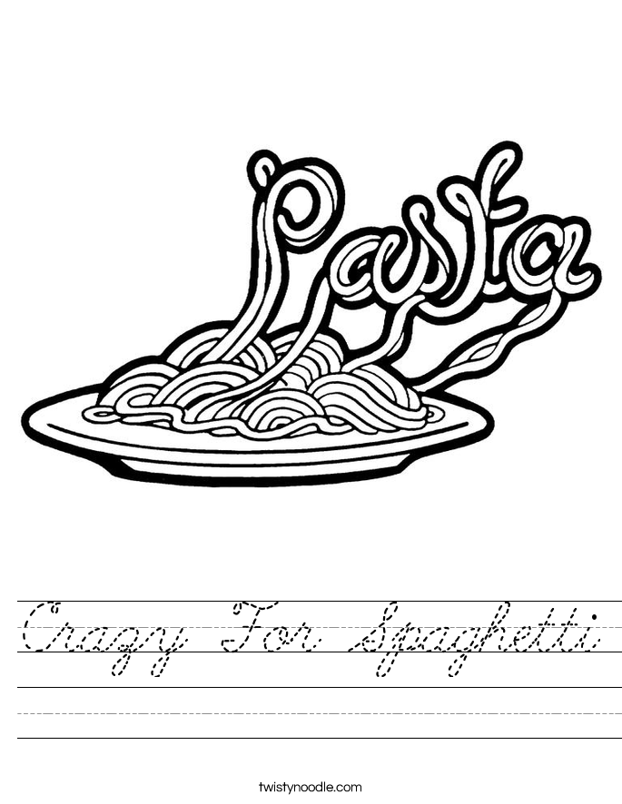 Crazy For Spaghetti Worksheet