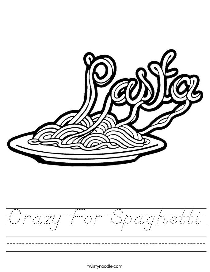 Crazy For Spaghetti Worksheet