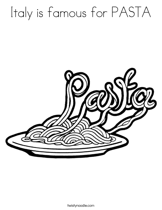 Italy is famous for PASTA Coloring Page