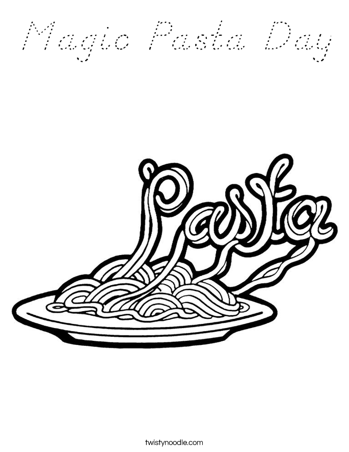 Magic Pasta Day Coloring Page - D'Nealian - Twisty Noodle