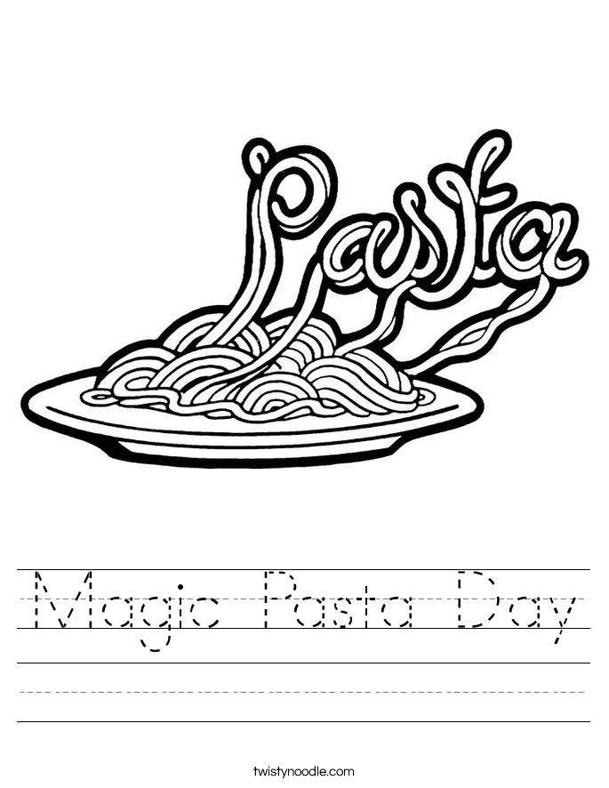Magic Pasta Day Worksheet