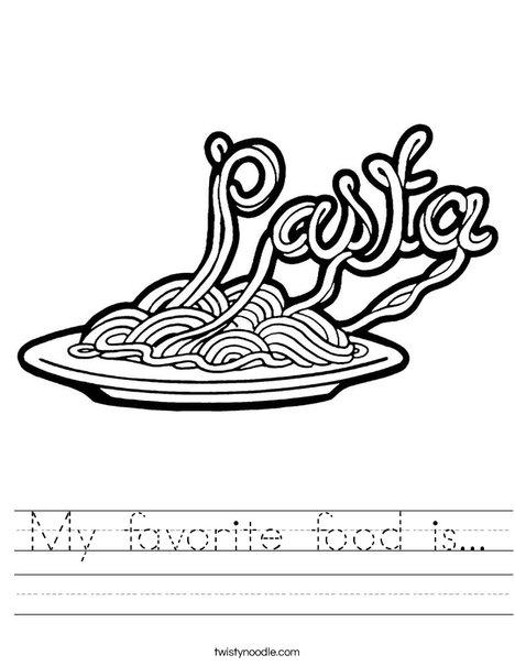 My Favorite Food Is Worksheet Twisty Noodle