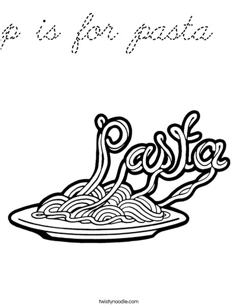 p is for pasta Coloring Page - Cursive - Twisty Noodle