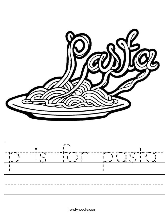p is for pasta Worksheet
