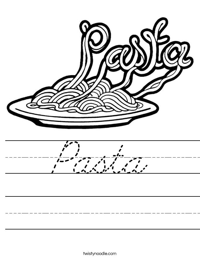 Pasta Worksheet