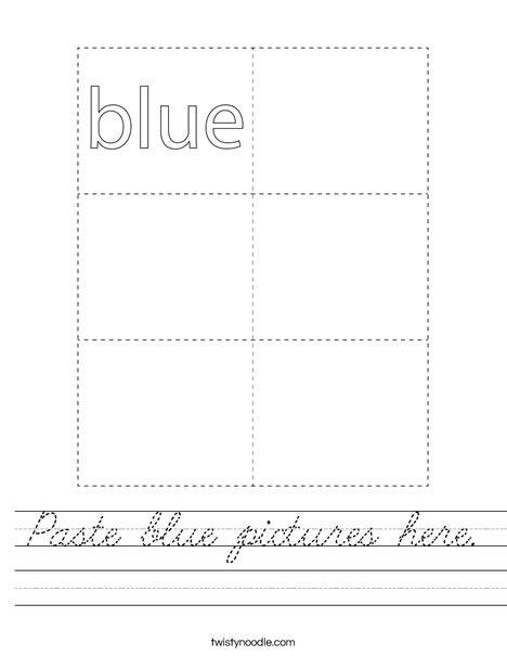 Paste blue pictures here. Worksheet