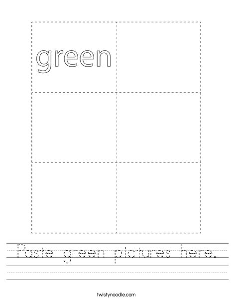 Paste green pictures here. Worksheet