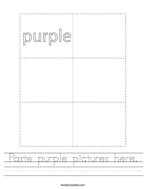 Paste purple pictures here. Worksheet