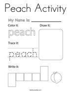 Peach Activity Coloring Page