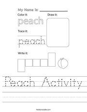 Peach Activity Handwriting Sheet