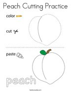 Peach Cutting Practice Coloring Page