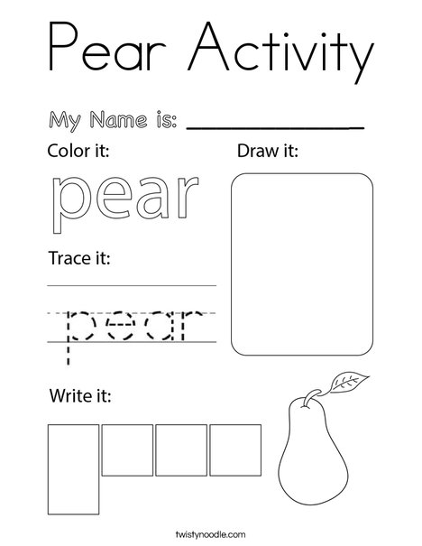 Pear Activity Coloring Page