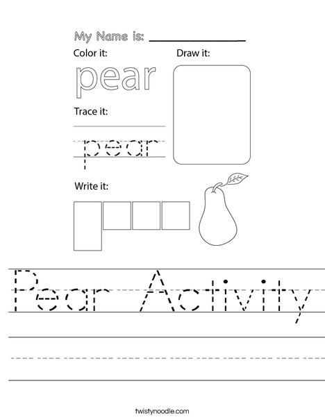 Pear Activity Worksheet