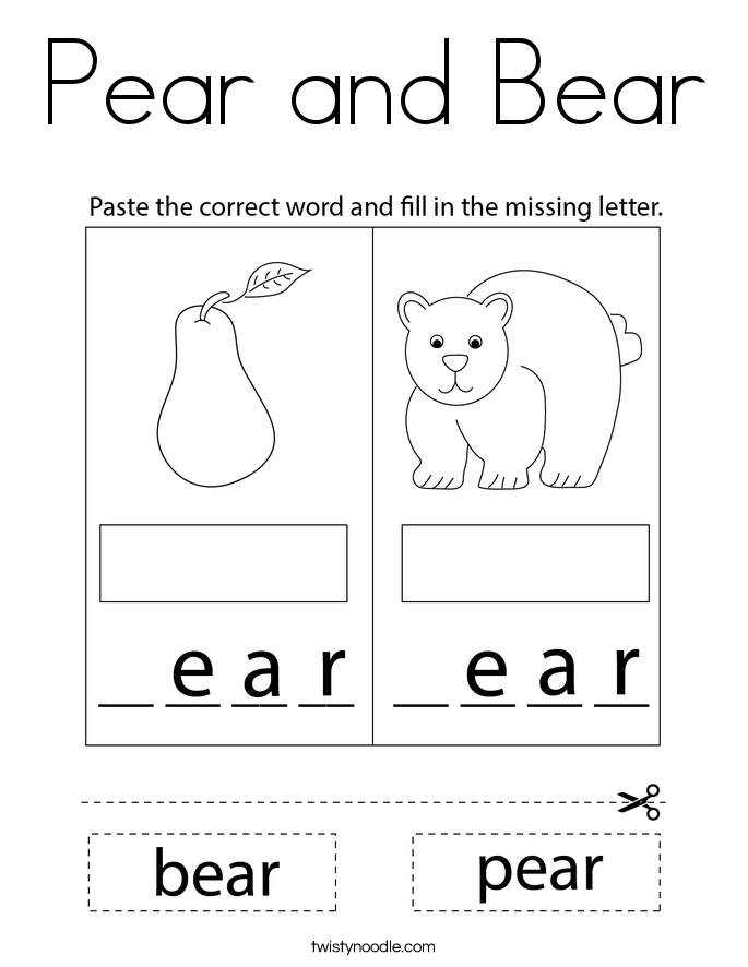Pear and Bear Coloring Page