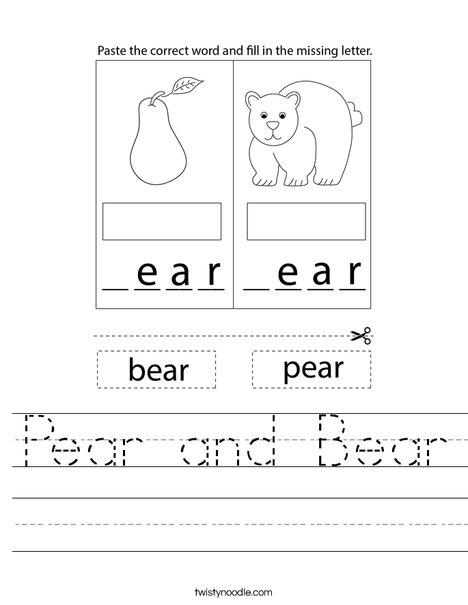Pear and Bear Worksheet