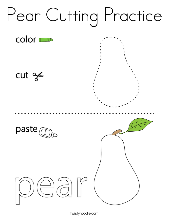Pear Cutting Practice Coloring Page