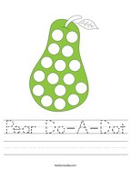 Pear Do-A-Dot Handwriting Sheet