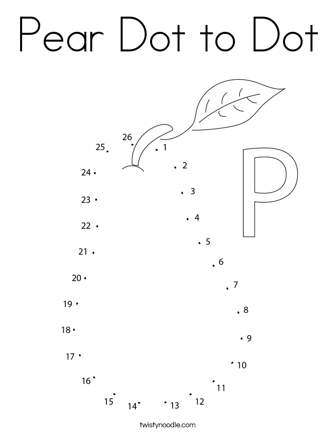 Pear Dot to Dot Coloring Page