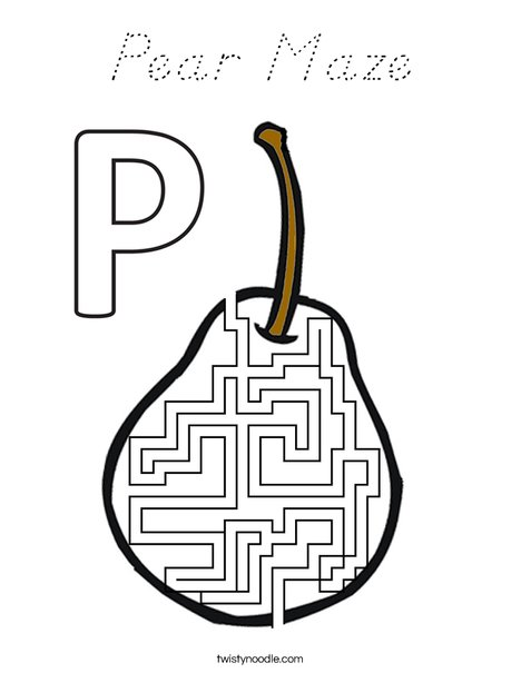 Pear Maze Coloring Page