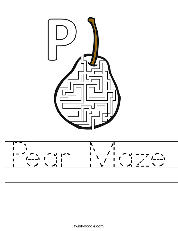 Pear Maze Worksheet