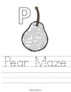 Pear Maze Handwriting Sheet