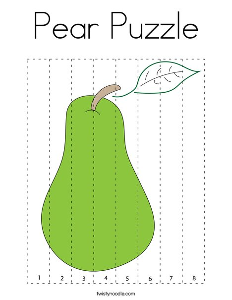 Pear Puzzle Coloring Page