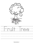 Fruit Tree Handwriting Sheet