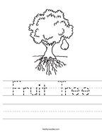 Fruit Tree Handwriting Sheet