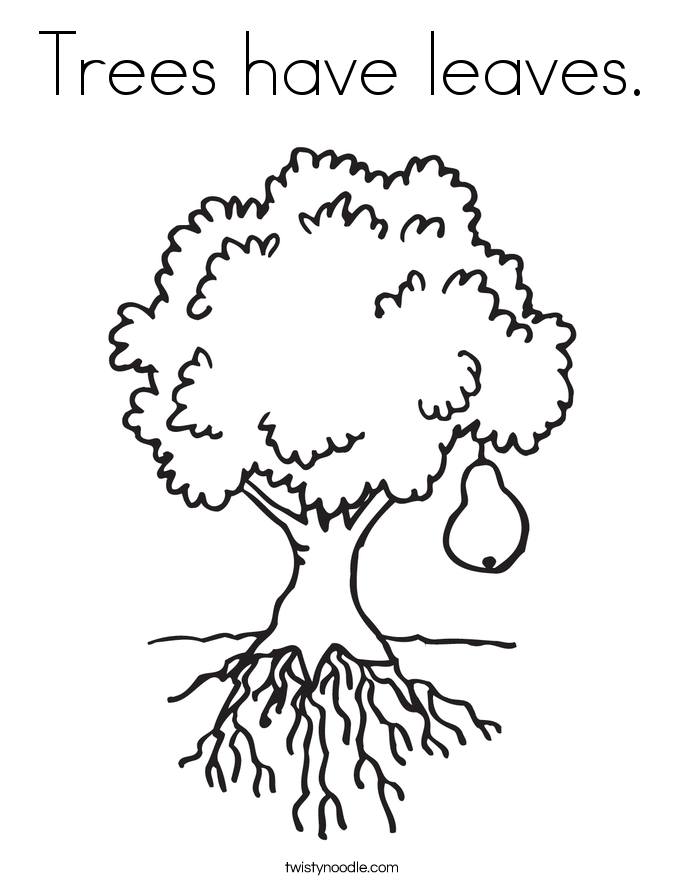 Trees have leaves. Coloring Page