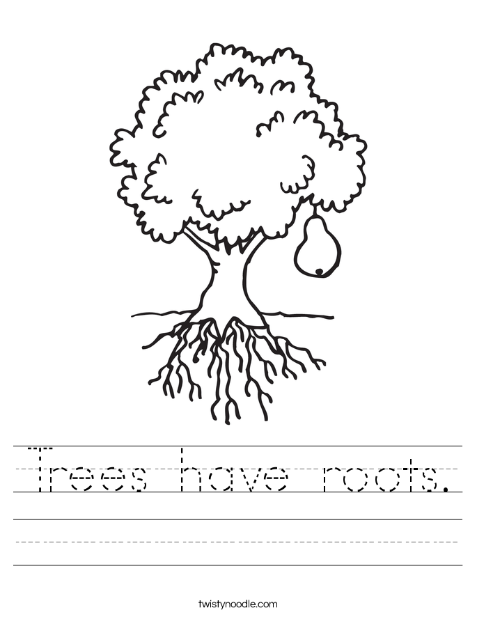Trees have roots. Worksheet