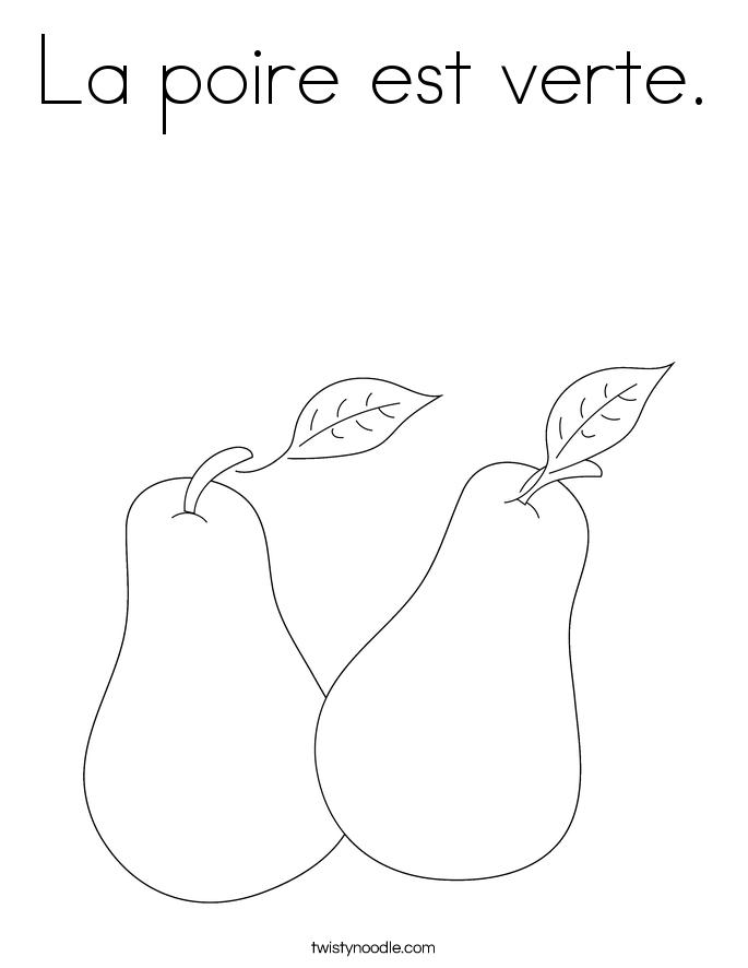 La poire est verte. Coloring Page