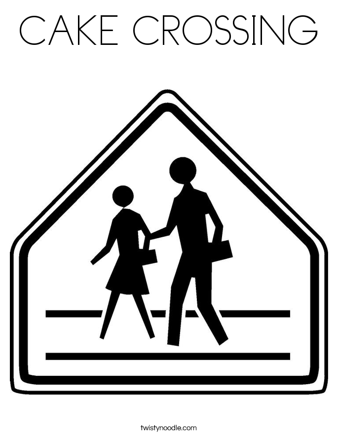 CAKE CROSSING Coloring Page