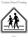 Caution School Crossing Coloring Page