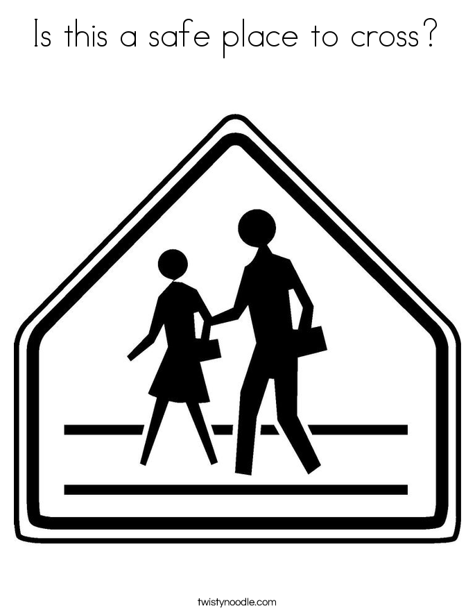 Is this a safe place to cross? Coloring Page