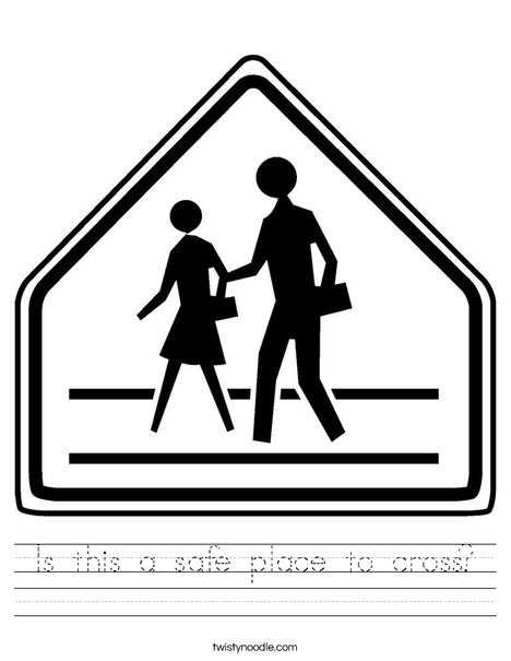 Pedestrian Crossing Worksheet