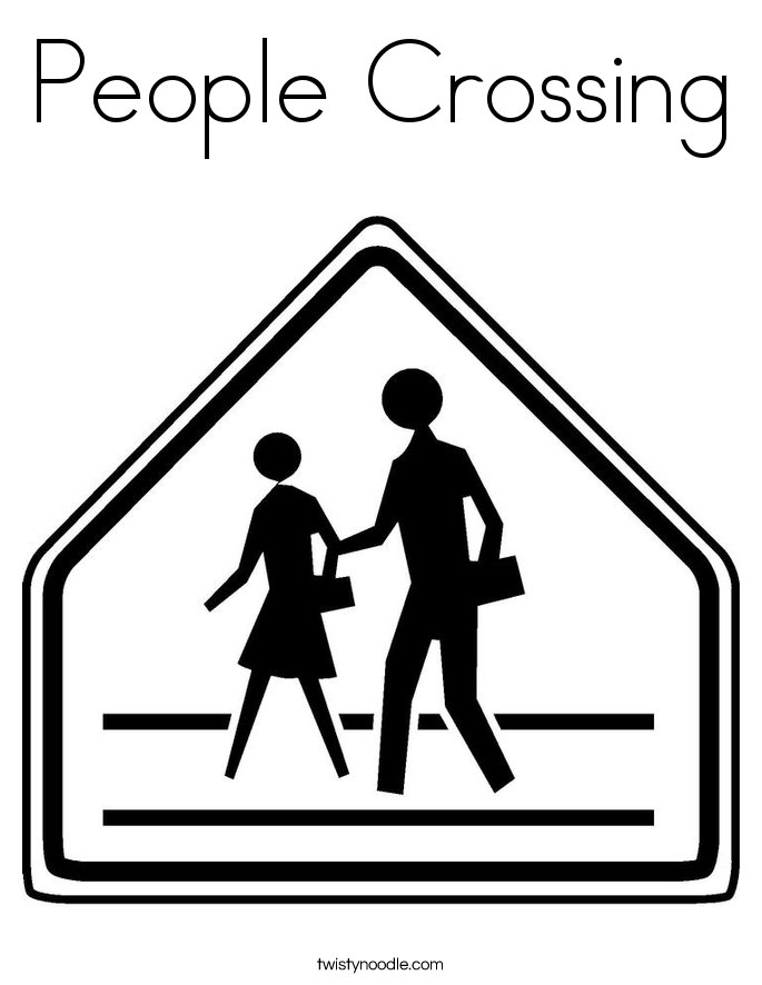 People Crossing Coloring Page