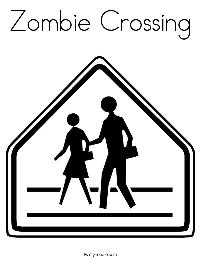 Zombie Crossing Coloring Page