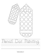 Pencil Dot Painting Handwriting Sheet